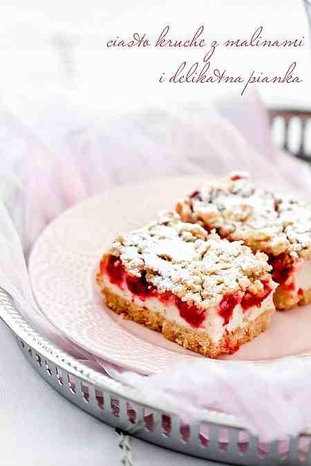Moje Wypieki | Kruche ciasto z malinami i lekką budyniową pianką